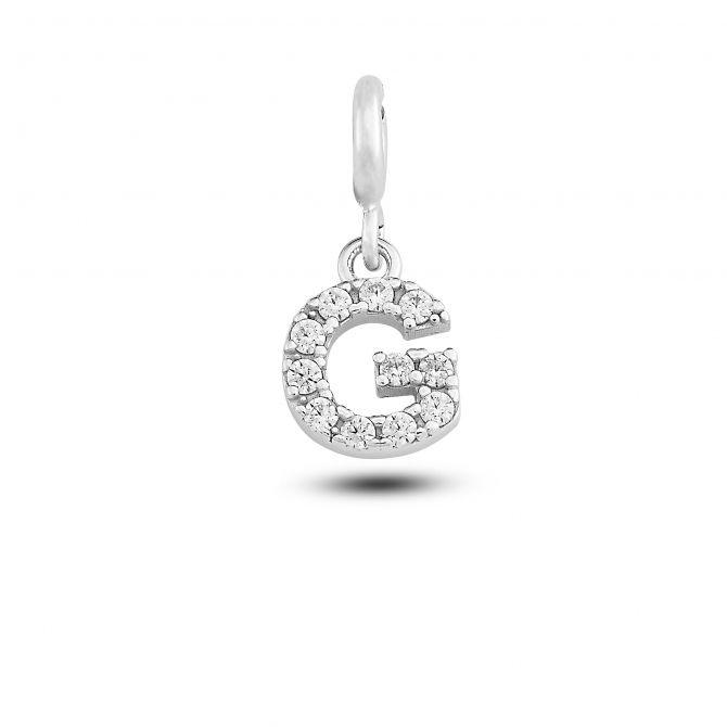 """Charm lettera """"g"""" con cristalli"""