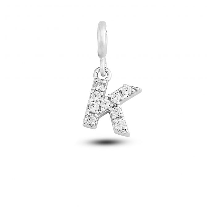 """Charm lettera """"k"""" con cristalli"""