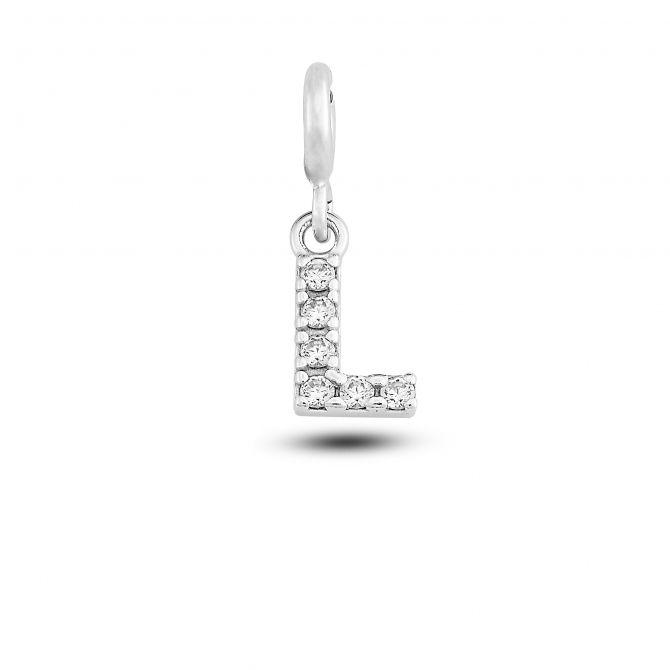 """Charm lettera """"l"""" con cristalli"""