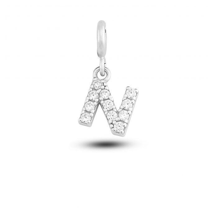"""Charm lettera """"n"""" con cristalli"""