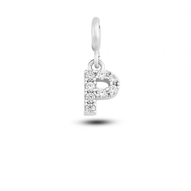 """Charm lettera """"p"""" con cristalli"""