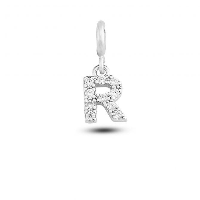 """Charm lettera """"r"""" con cristalli"""