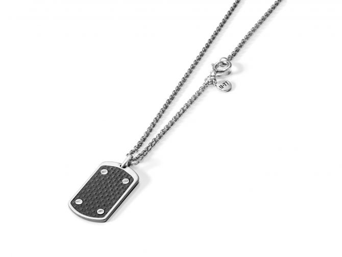 Necklace with plate and carbon-fiber